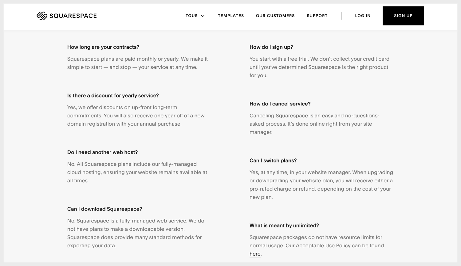 Squarespace plans' FAQ webpage