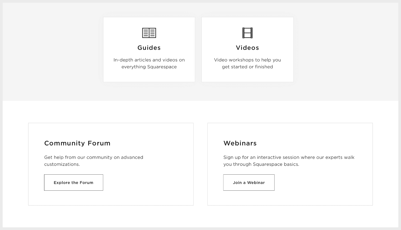 Squarespace Help webpage