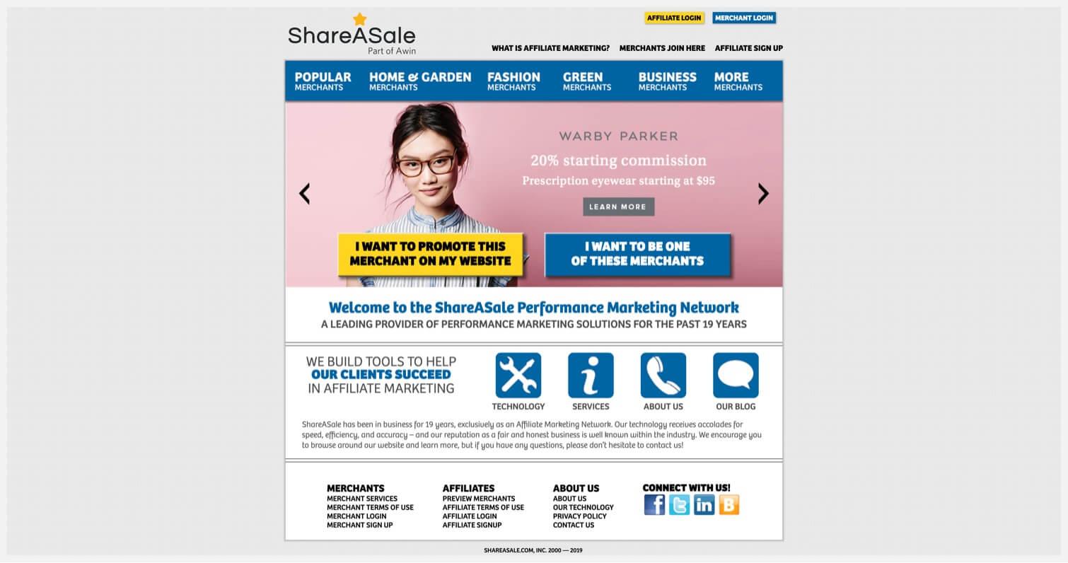 ShareASale's homepage