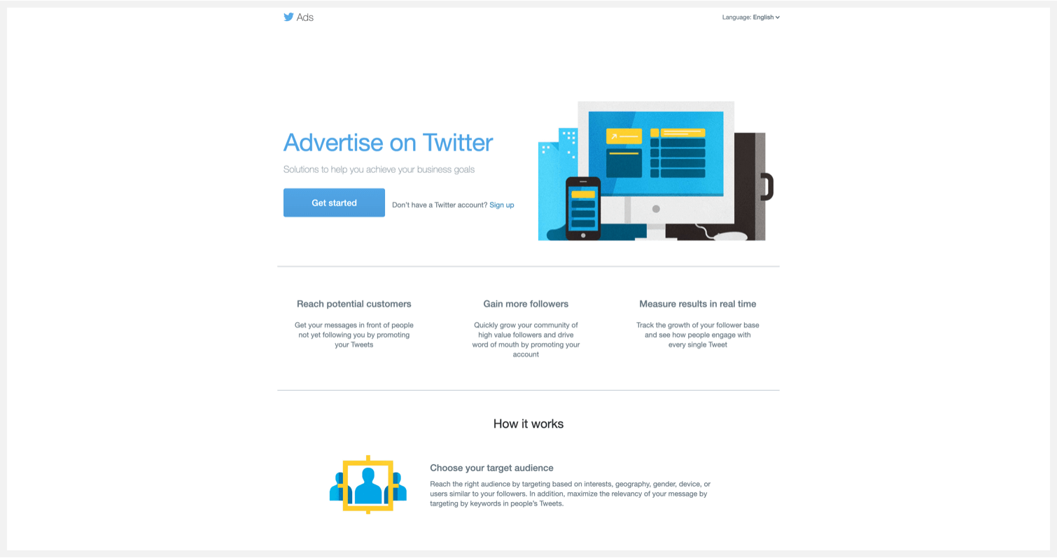 Twitter's webpage for advertising