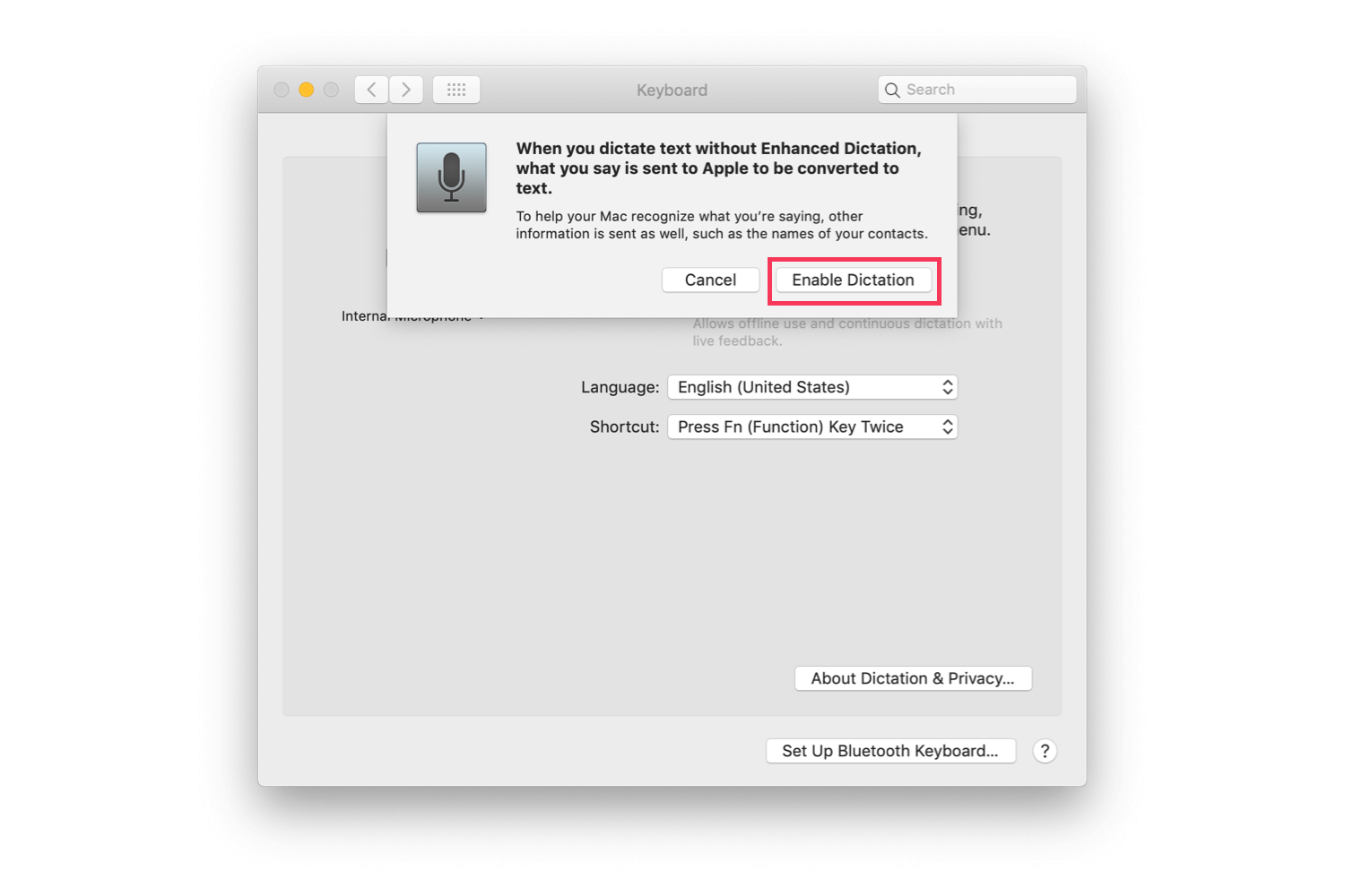 Step 4 for enabling dictation on macOS