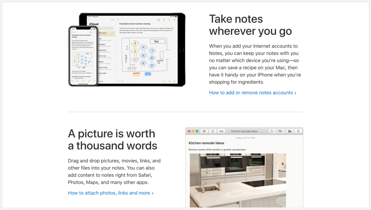 Apple Notes' webpage that lists the main features