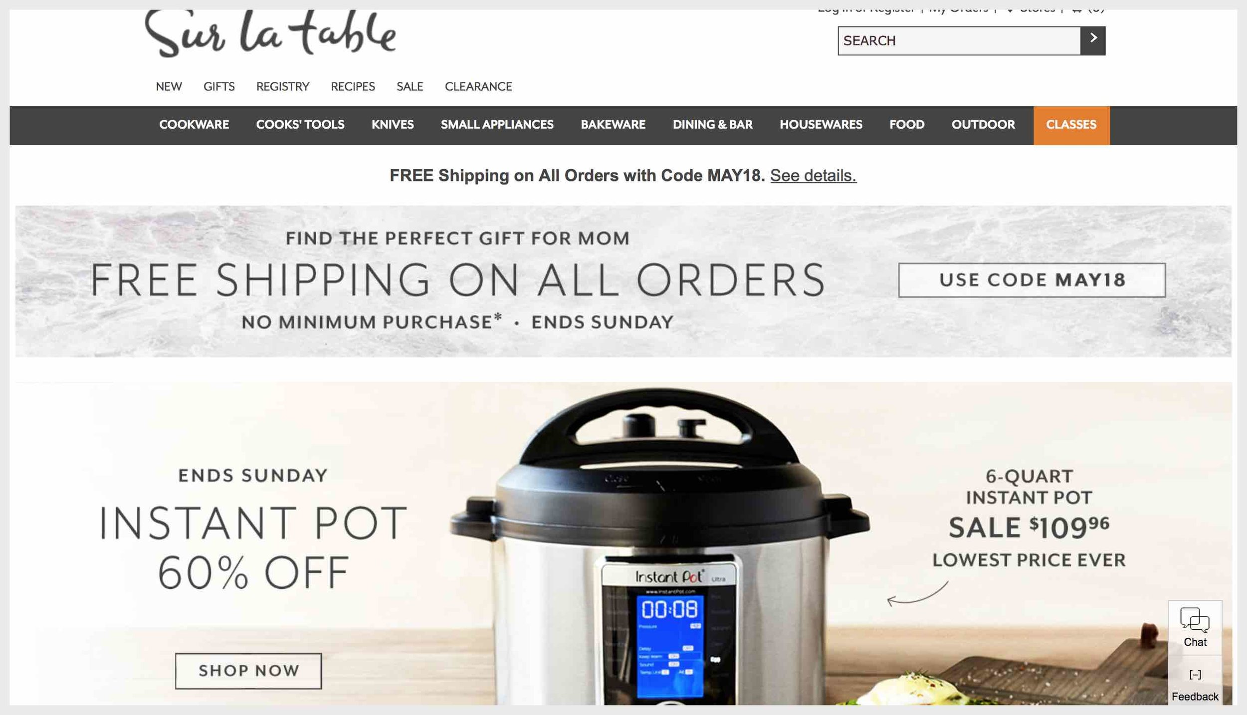 Sur La Table's homepage with shop CTAs