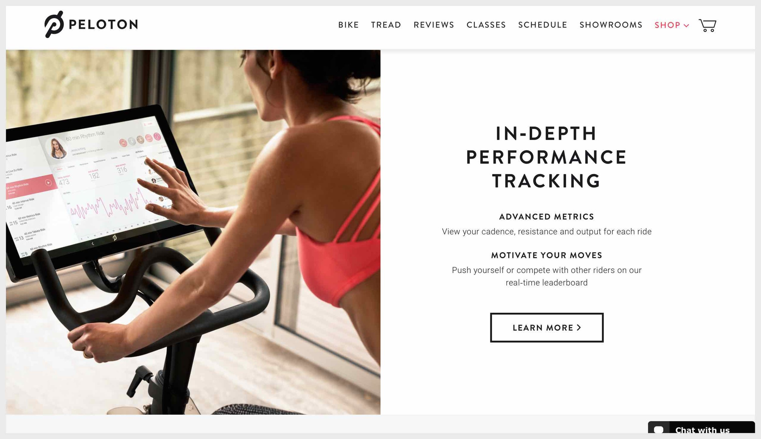 Peloton's homepage with learn more CTAs
