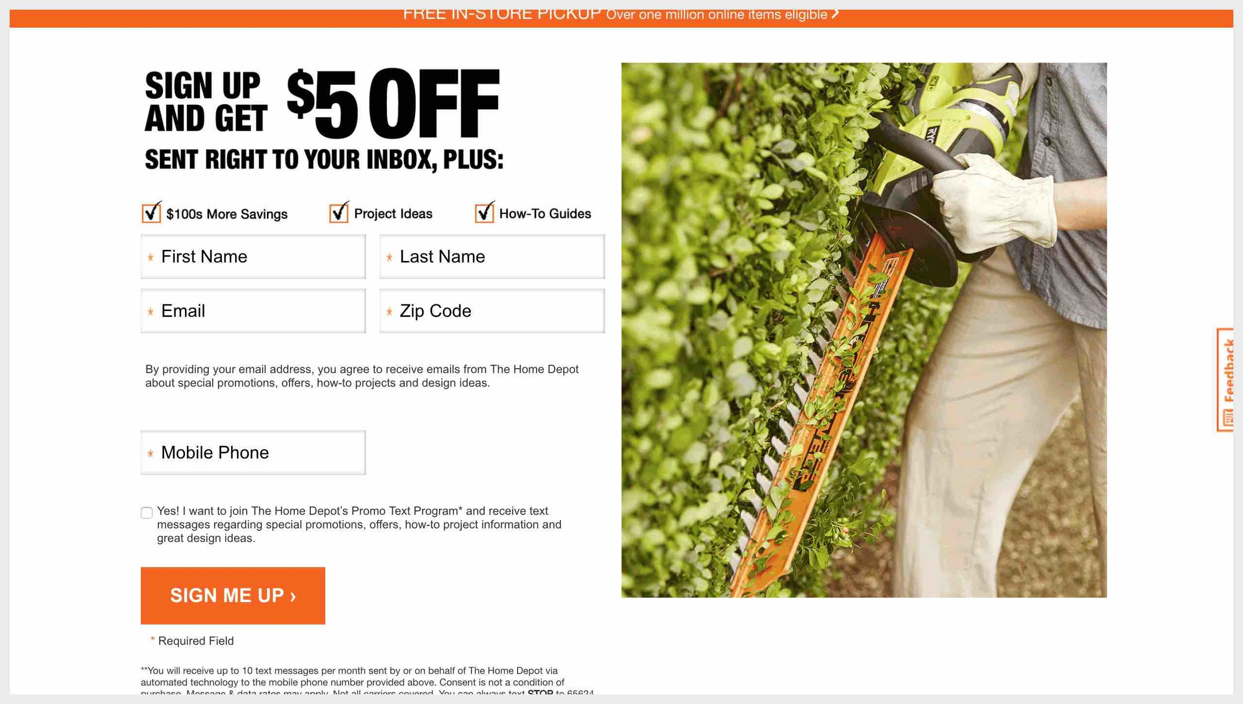 The Home Depot's homepage with subscribe CTAs