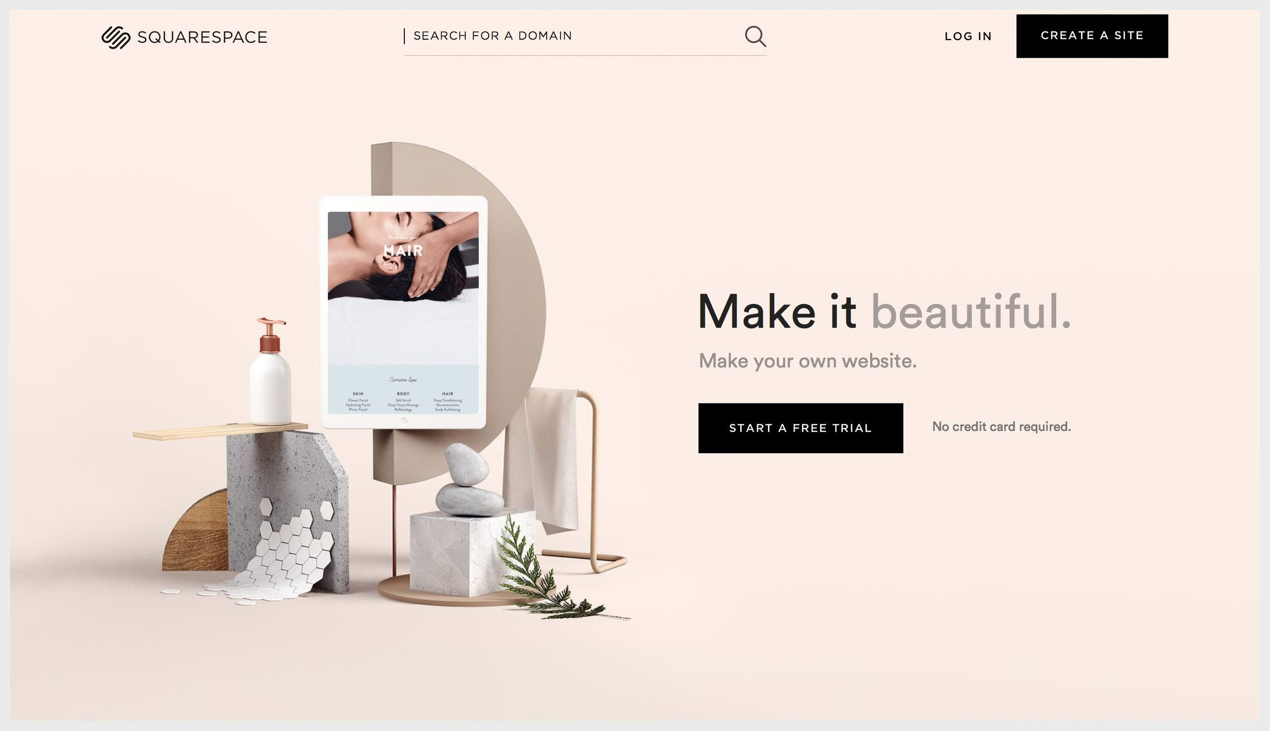 Squarespace's homepage with try CTAs