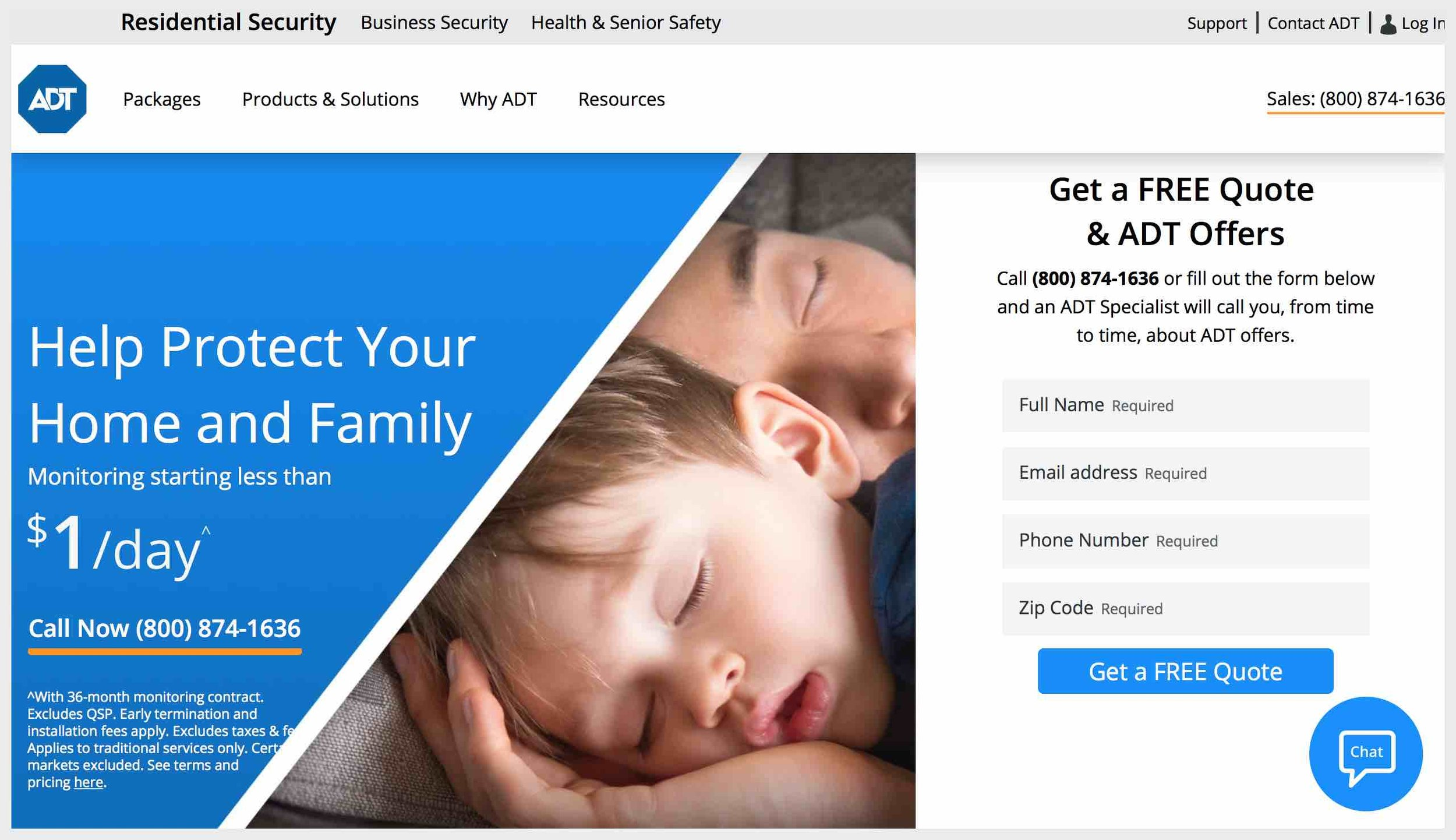 ADT's homepage with contact CTAs