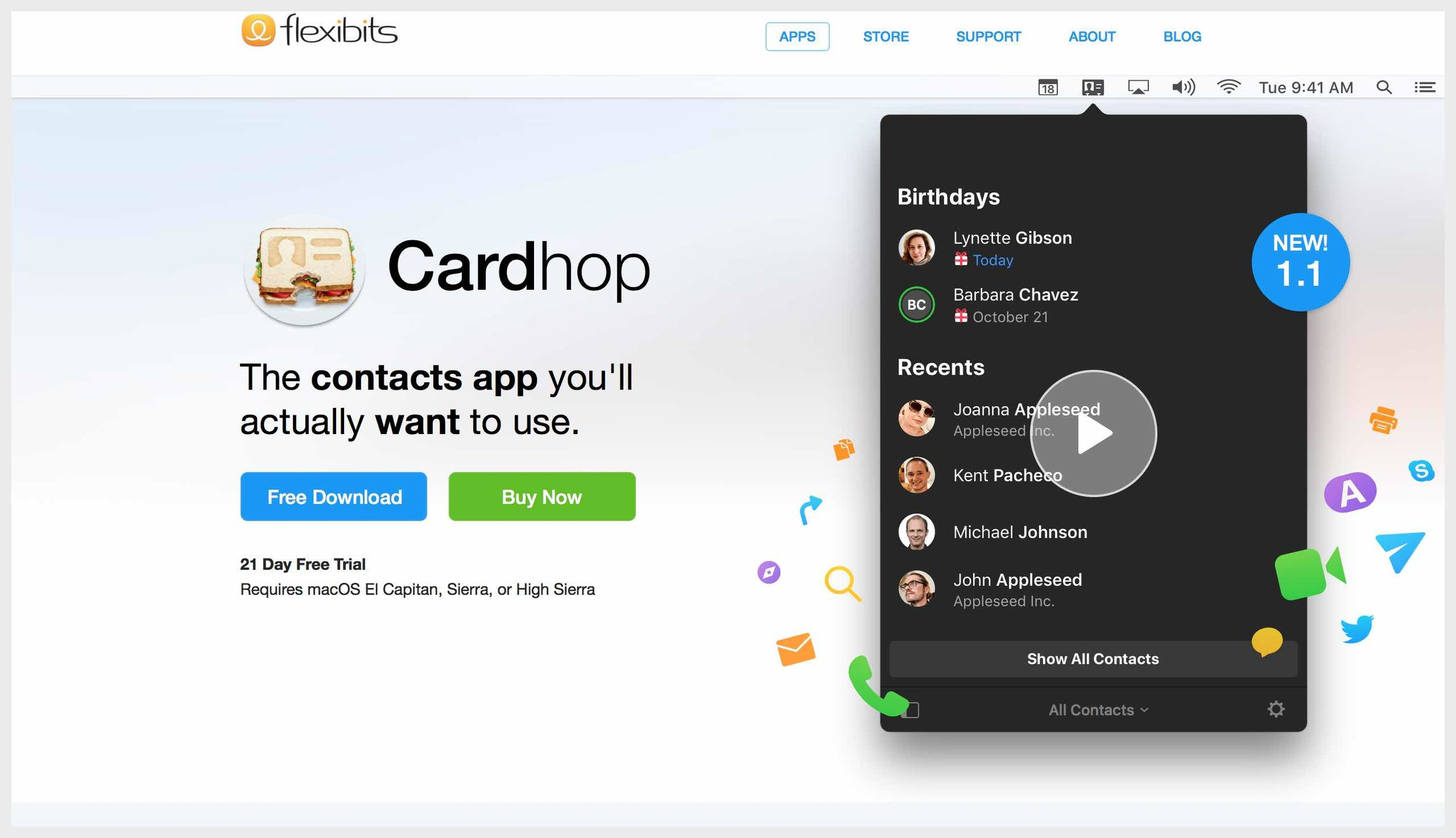 Cardhop homepage with buy CTAs