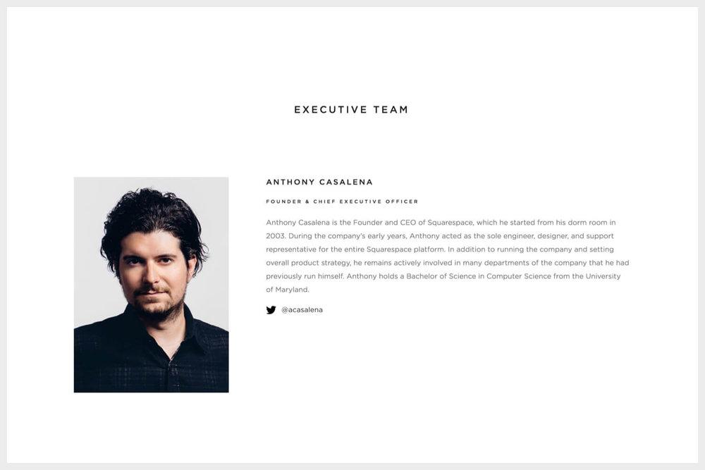 Bio of Squarespace's founder, Anthony Casalena