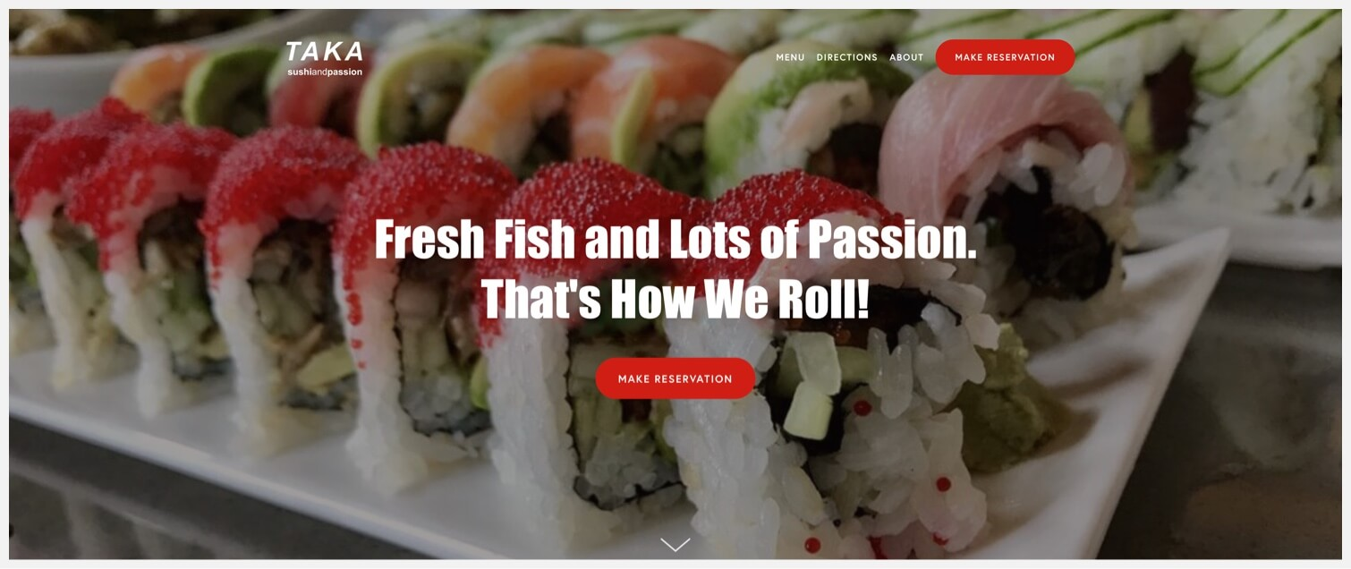 """Close-up of a sushi roll with a """"Make Reservation"""" CTA."""