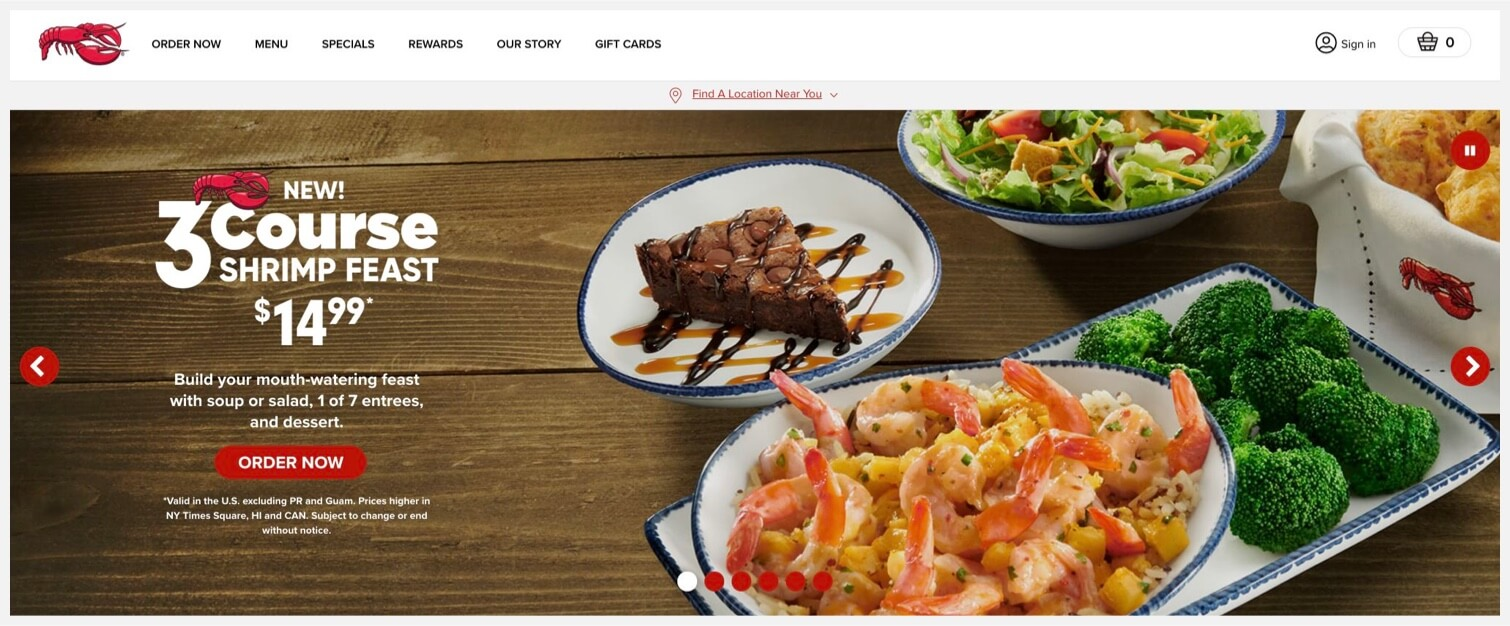 """3-course shrimp feast with an """"Order Now"""" CTA."""