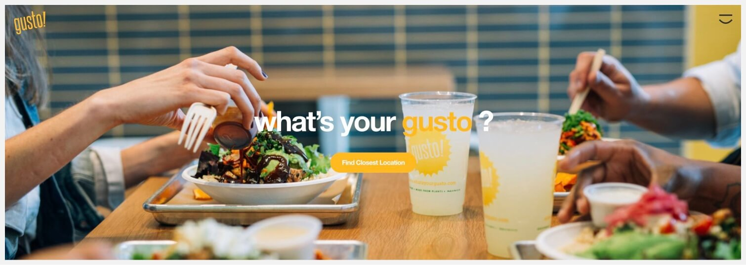 """Two people eating salads and a """"Find Closest Location"""" CTA."""