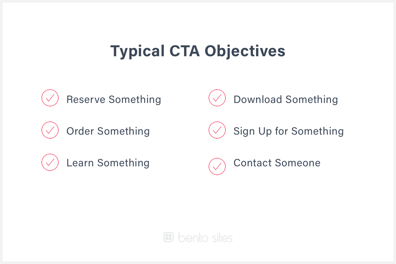 List of typical call to action objectives