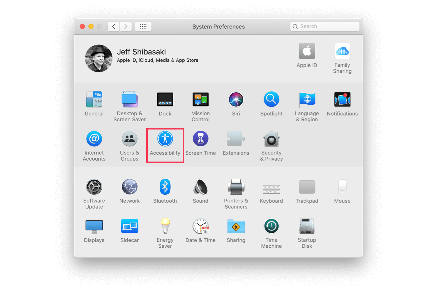 The macOS System Preferences' screen with Accessibility highlighted
