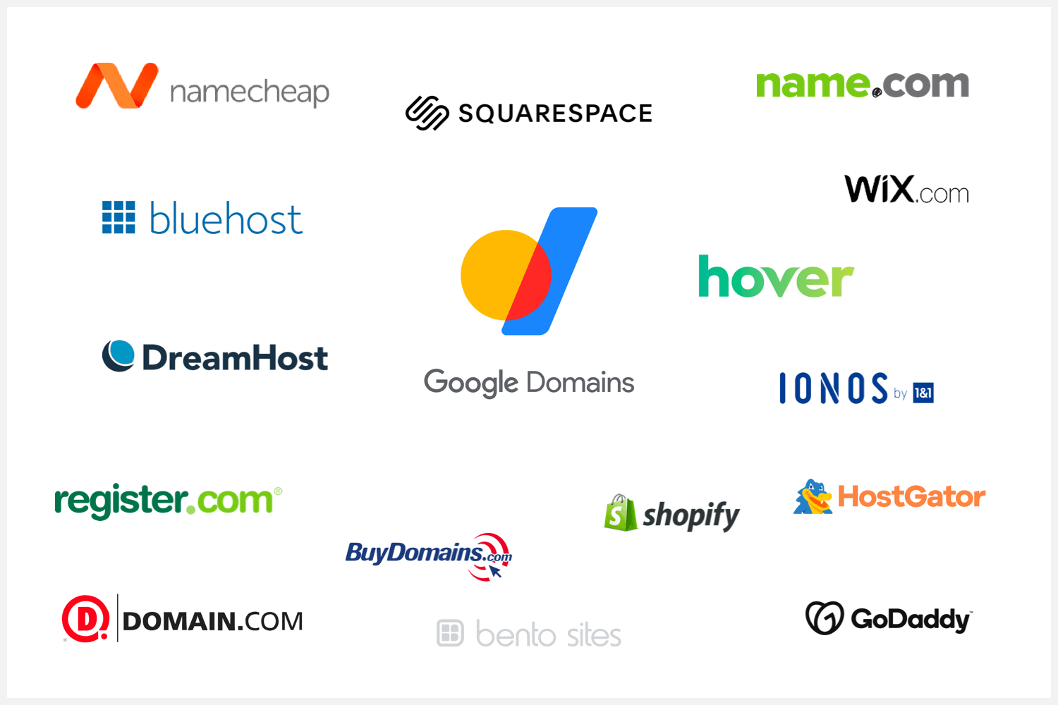 About a dozen logos of the most popular domain registrars