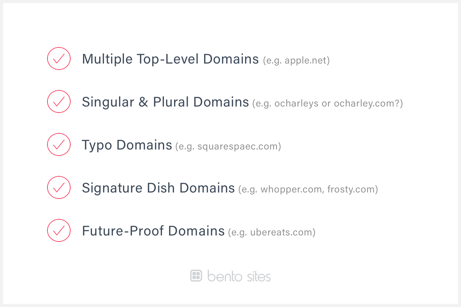 A checklist that describes the kinds of domains to register
