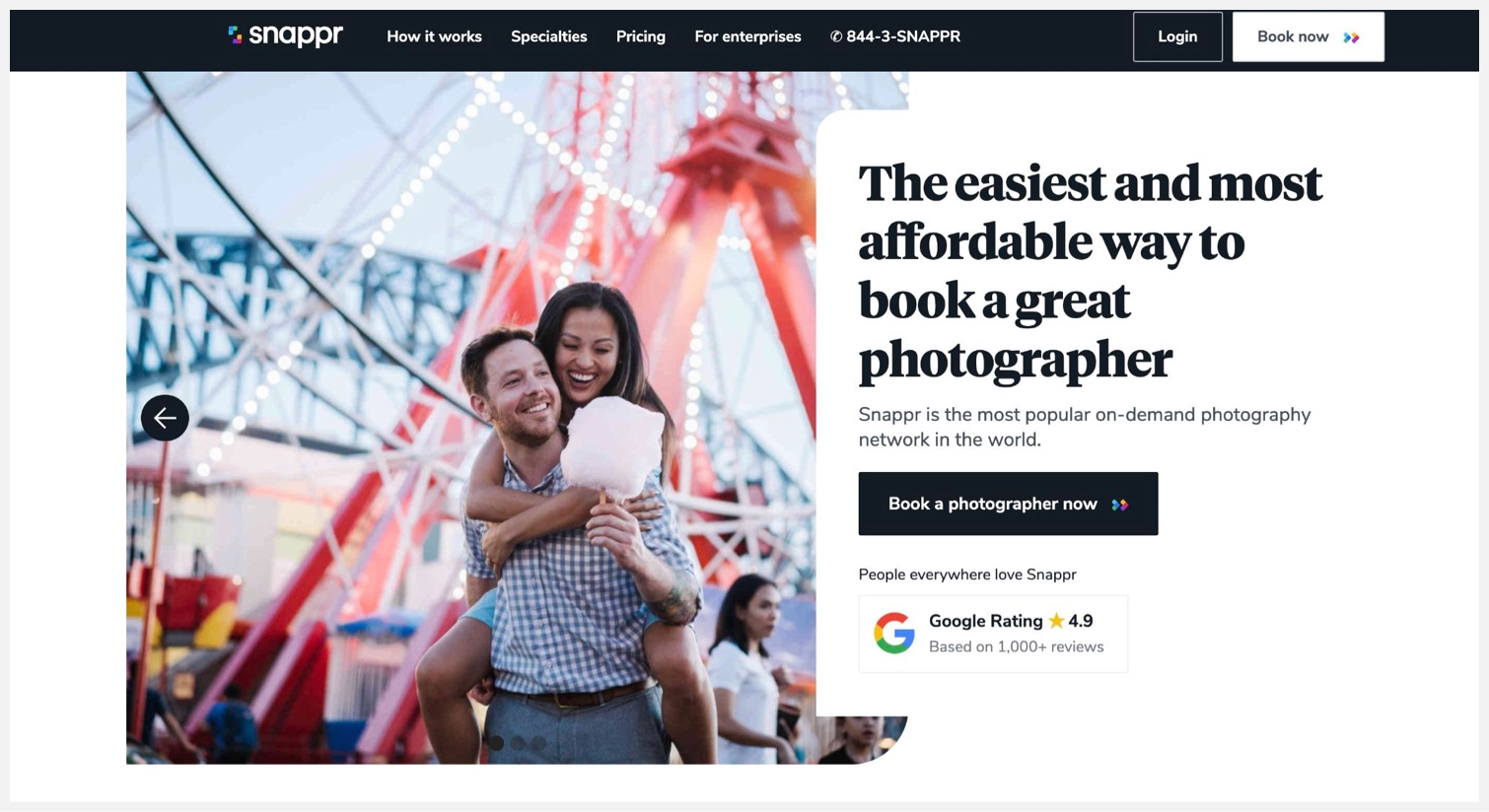 Snappr's homepage with instructions for hiring a professional photographer