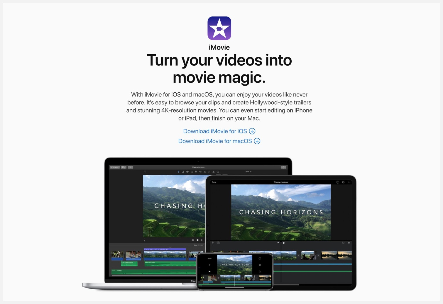 Apples web page for iMovie