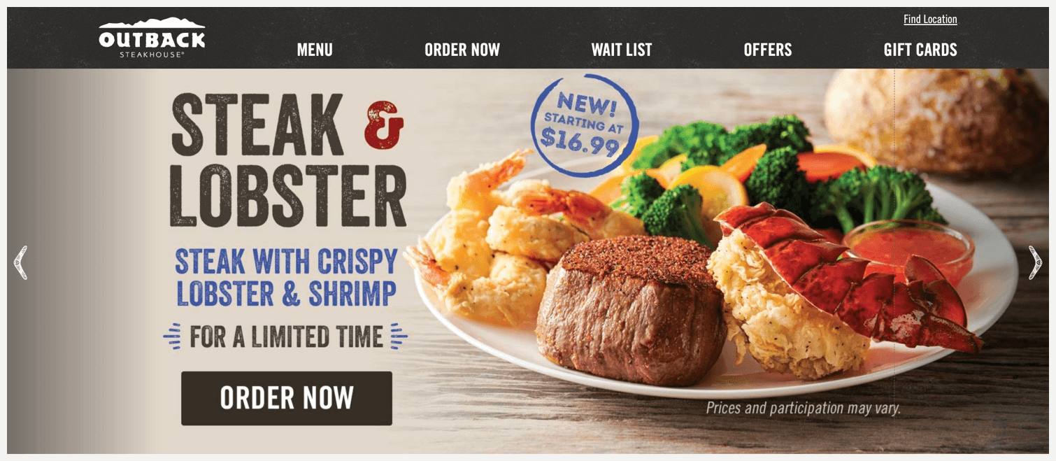 Outback Steakhouse's website, showing they're serving steak and lobster