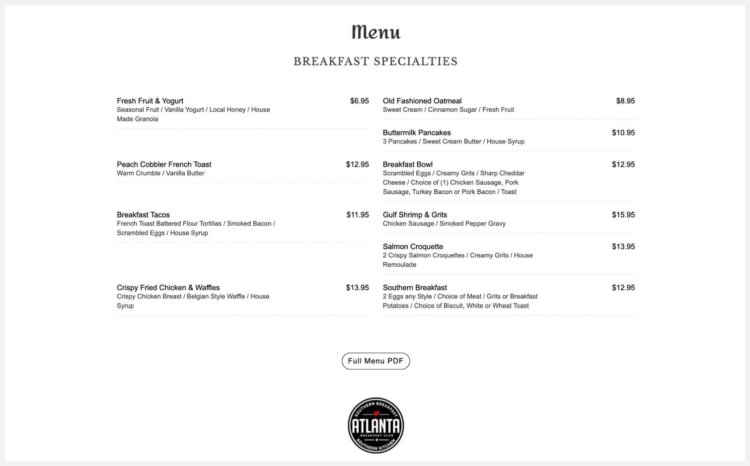 Atlanta Breakfast Club's menu
