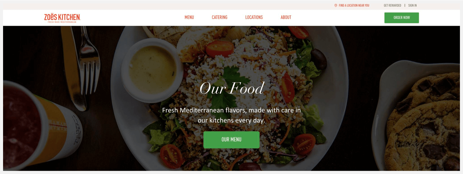 Zoës Kitchen's website, showing their call to action buttons