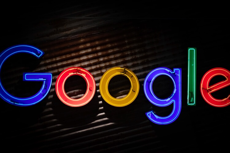 A neon sign of the Google logo