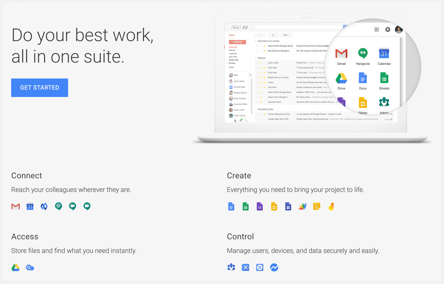 G Suite's homepage.