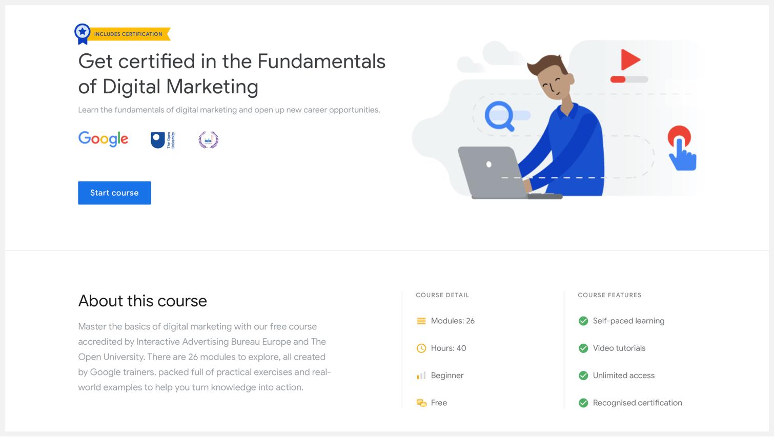Google Digital Garage's Fundamentals of Digital Marketing page.
