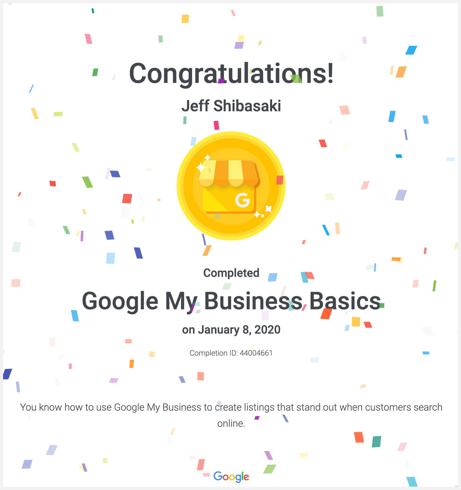 Google My Business Basics course certificate.