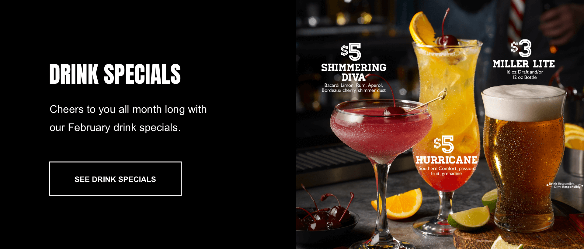 Section 3 redesign concept of TGI Fridays' website.