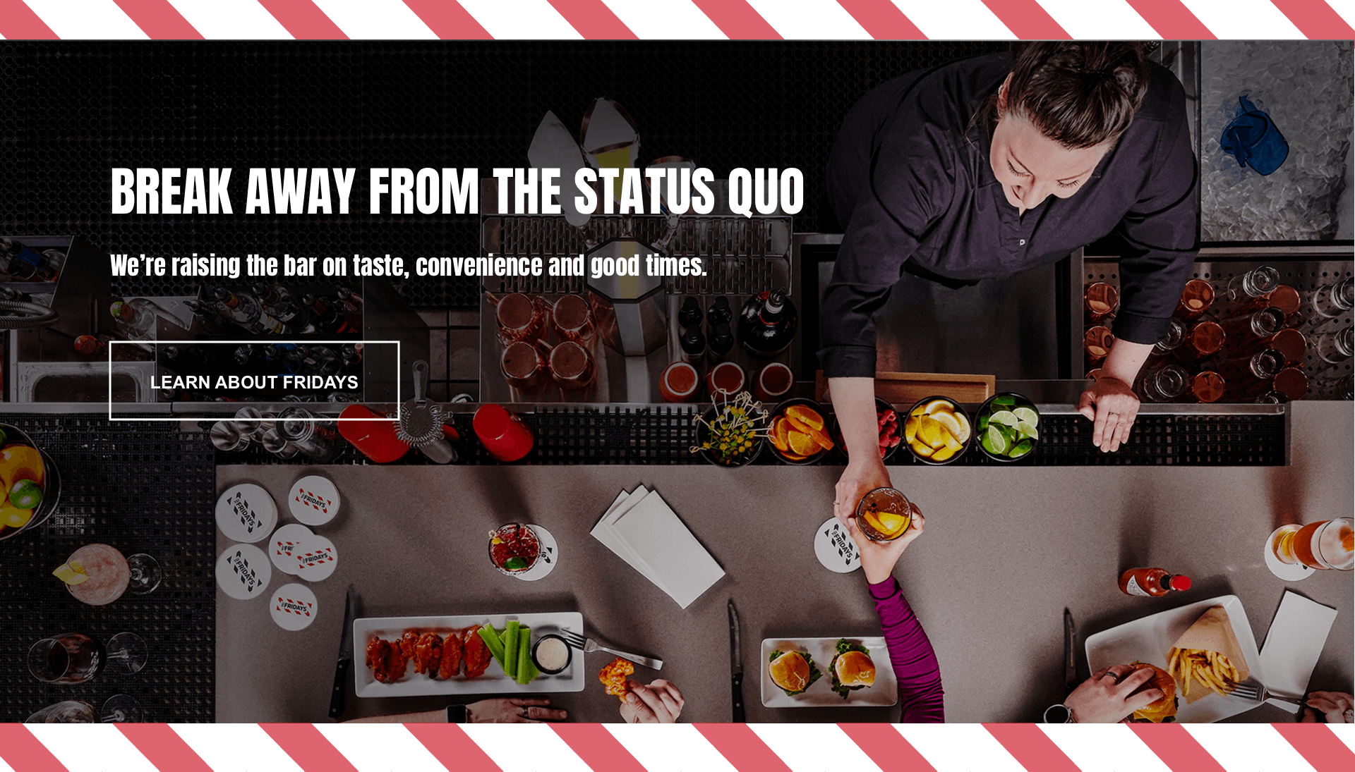 Section 6 redesign concept of TGI Fridays' website.