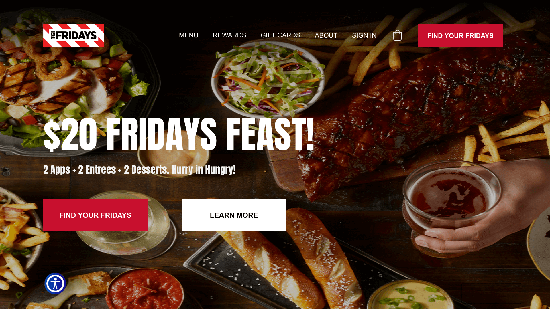 Section 1 redesign concept of TGI Fridays' website.