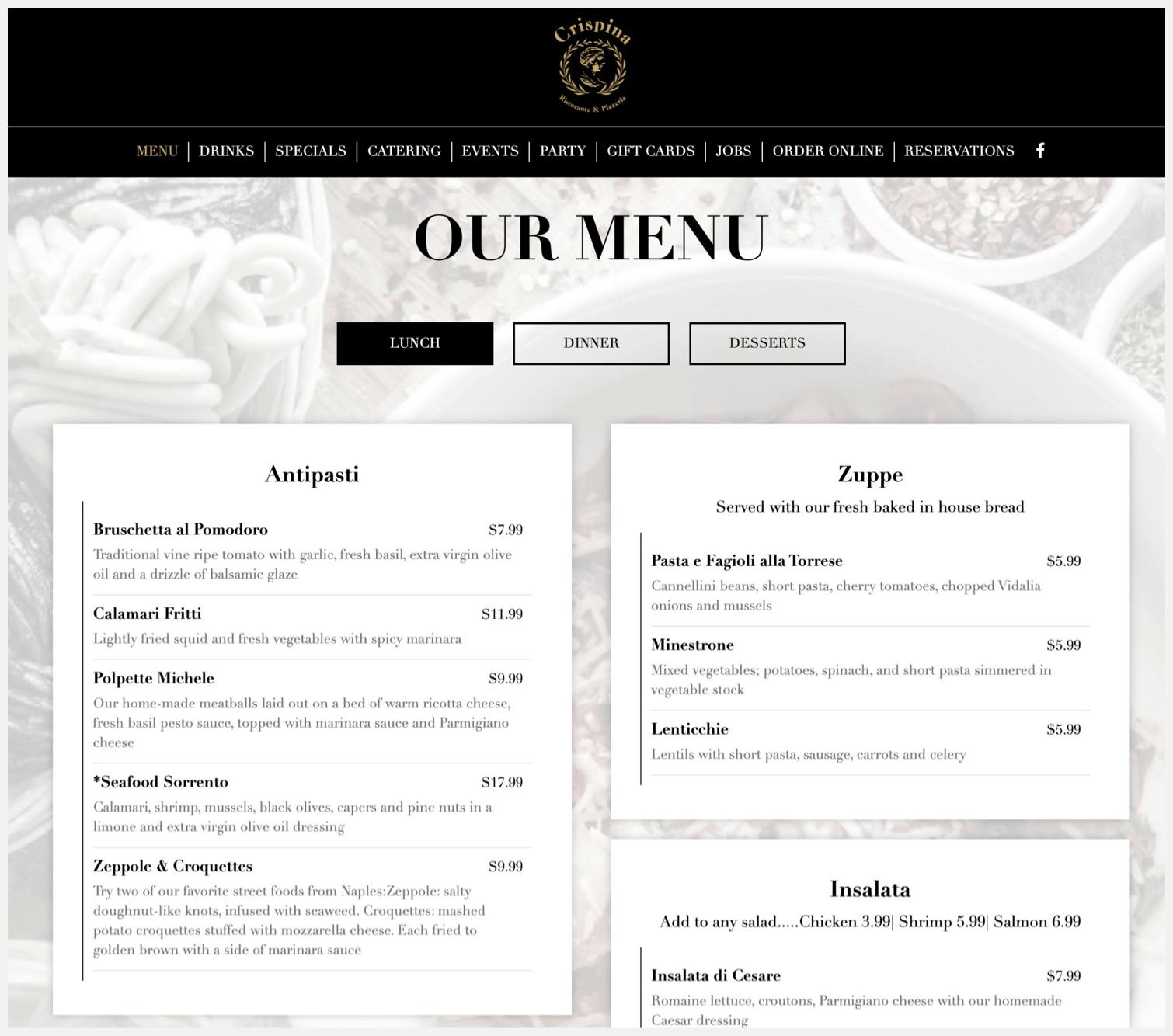 Crispina Ristorante & Pizzeria menu page on their website.