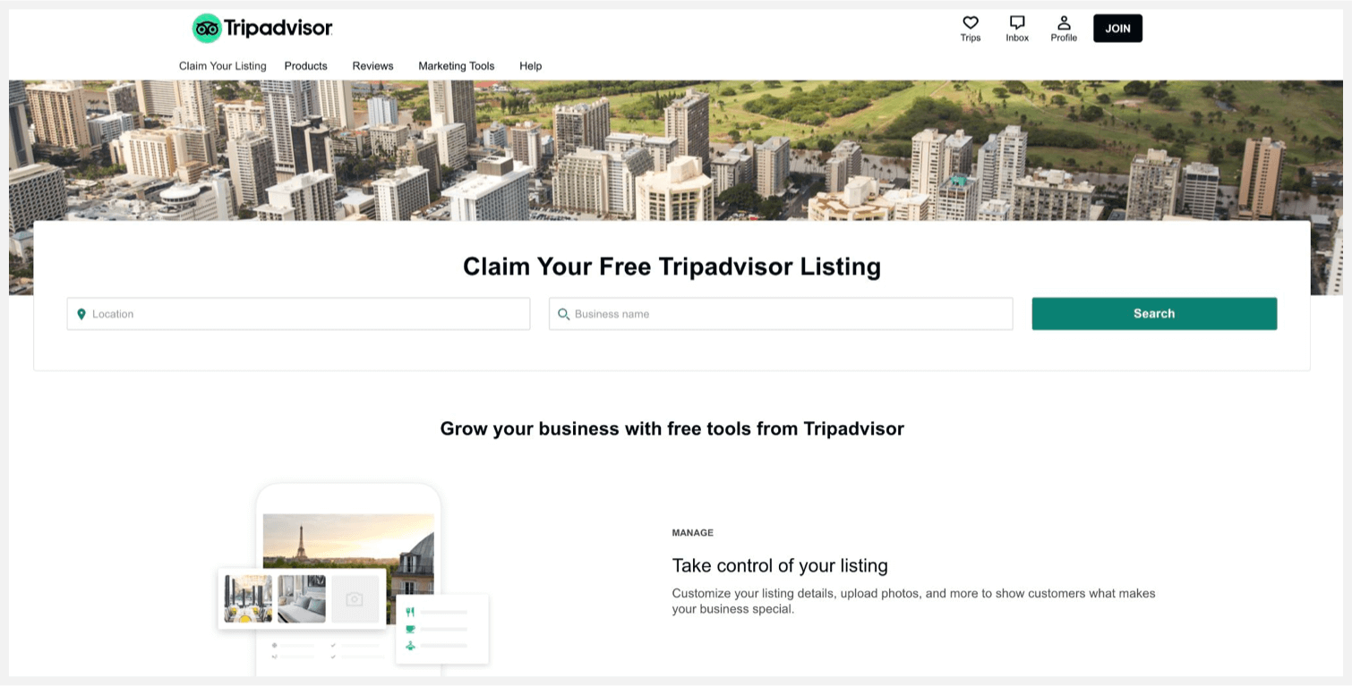 TripAdvisor's page for claiming your free listing.
