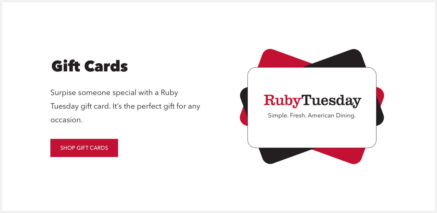 Section 6 redesign concept of Ruby Tuesday's website.