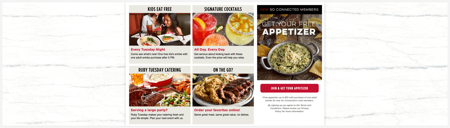 Section 2 of Ruby Tuesday's website.