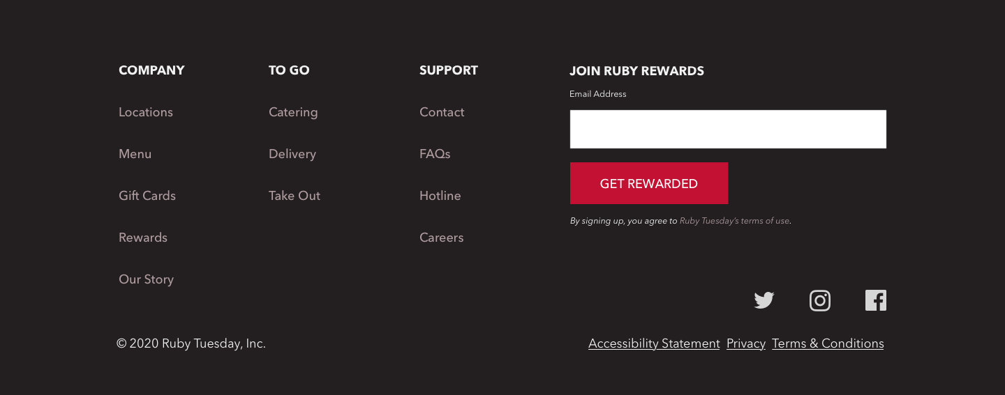 Section 9 redesign concept of Ruby Tuesday's website.