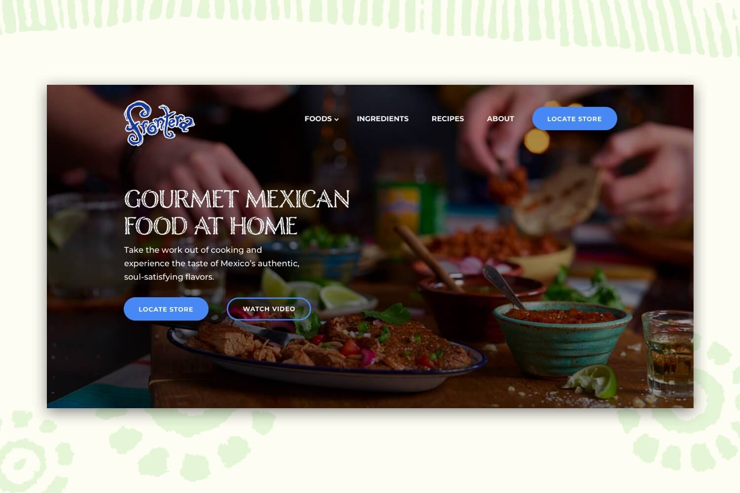 Redesigned header of Frontera's website.
