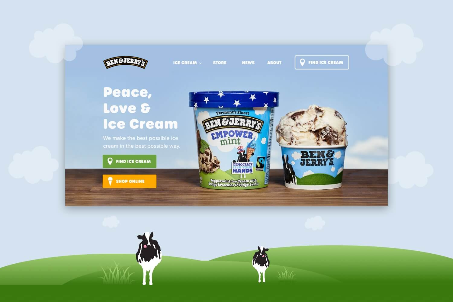 Redesigned header of Ben & Jerry's website.