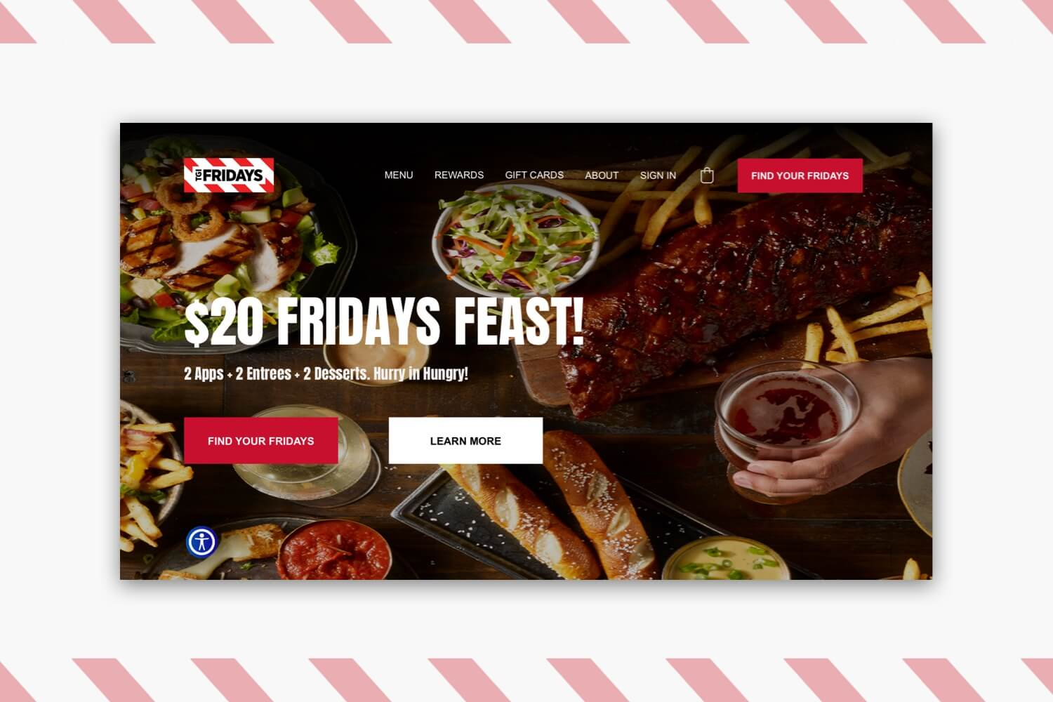 Redesigned header of TGI Fridays' website.