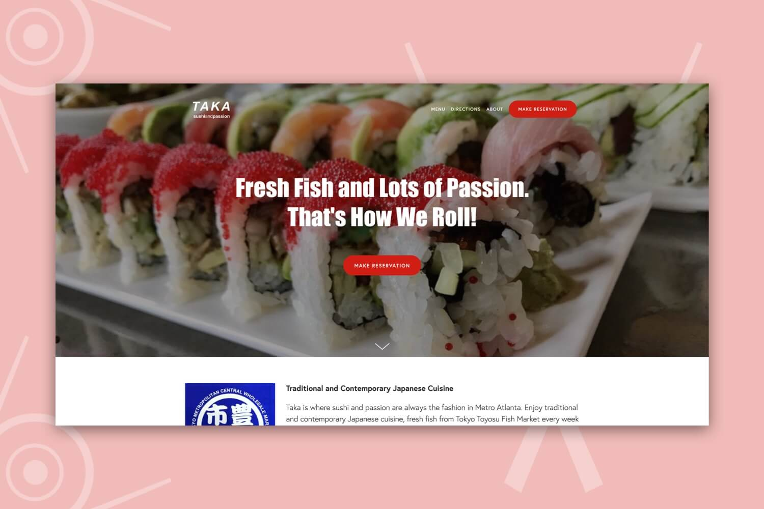 Designed header of Taka Sushi and Passion's website.