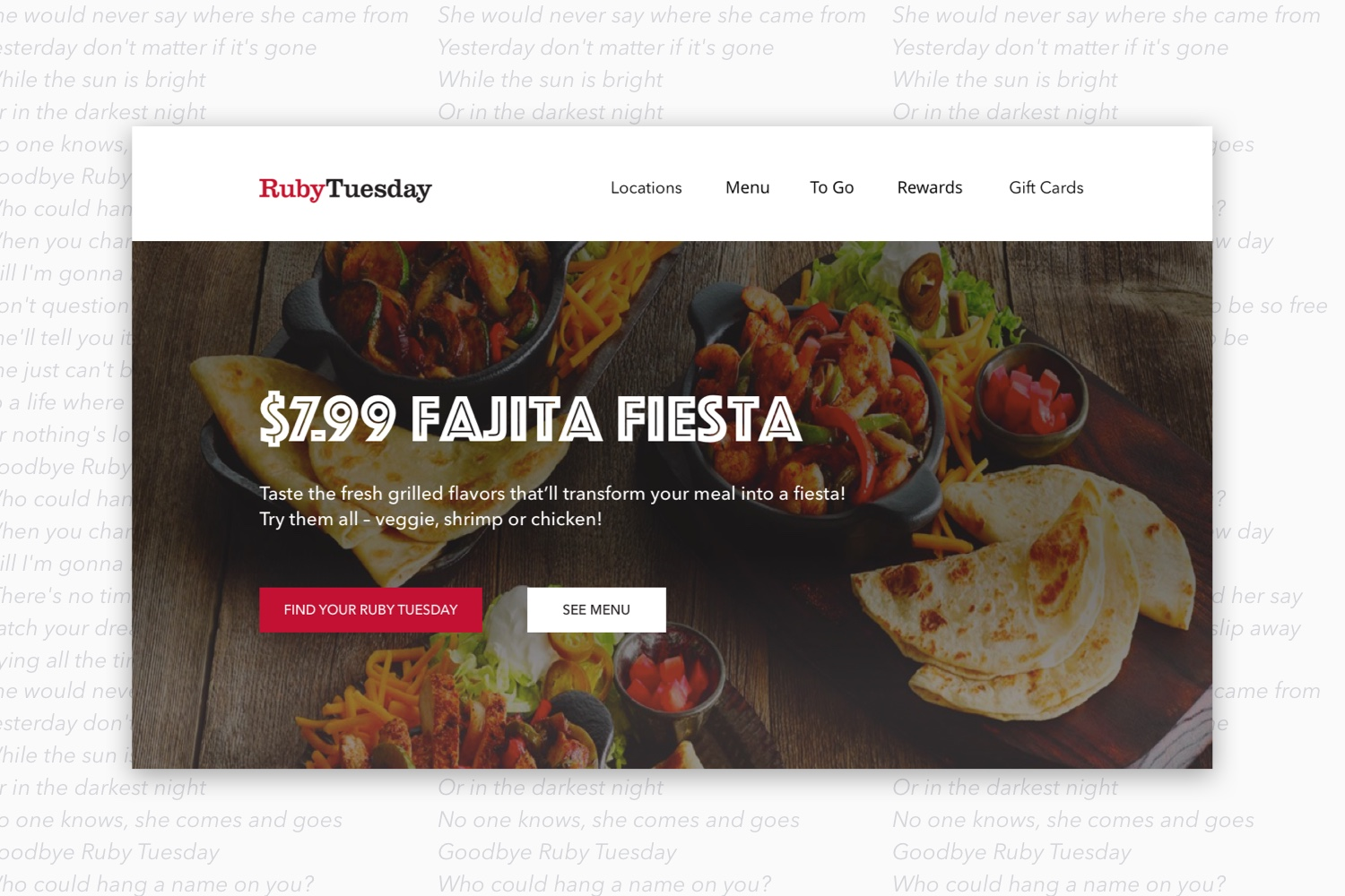 Redesigned header of Ruby Tuesday's website.
