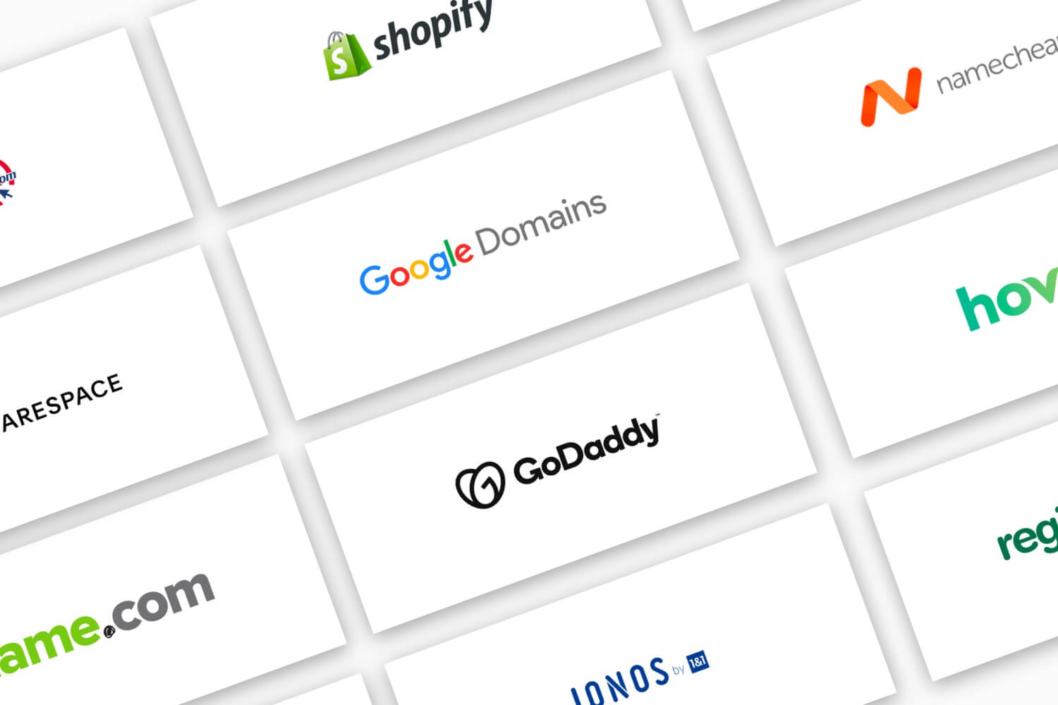 Logos for several domain registrars.
