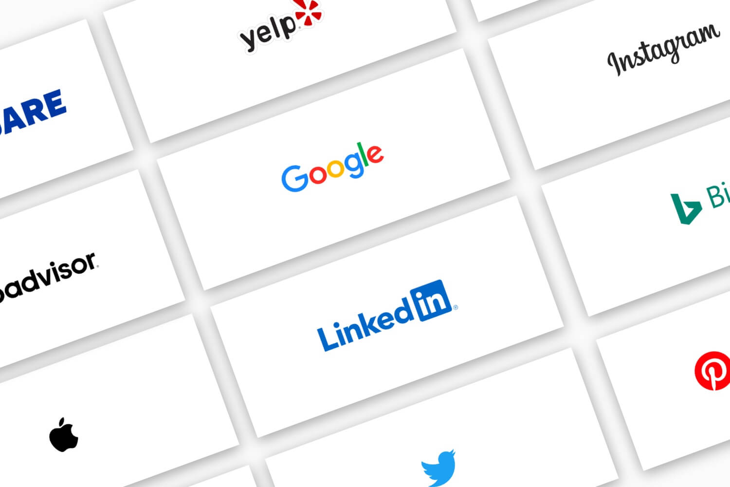 Logos for several several business listings, including Google, Facebook, Yelp, Apple, etc.