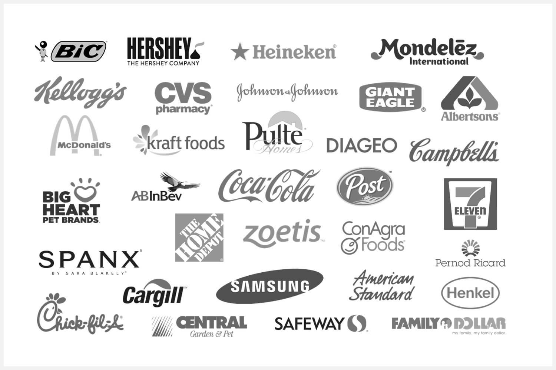 Greyscale logos of several companies.