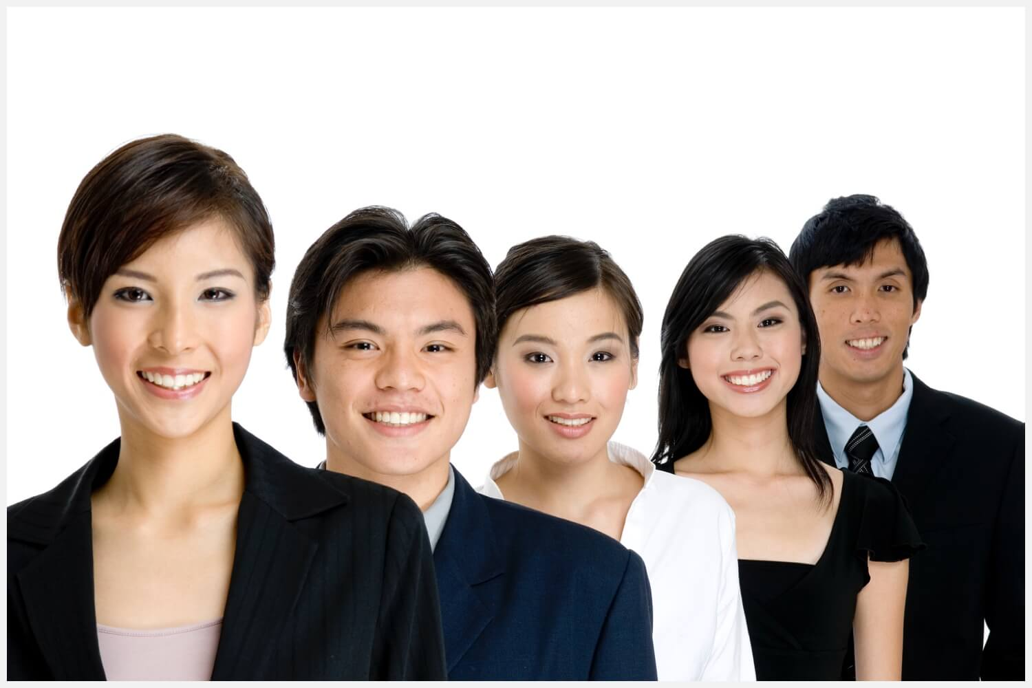 Stock photo of Asian businesspeople lined up and smiling.