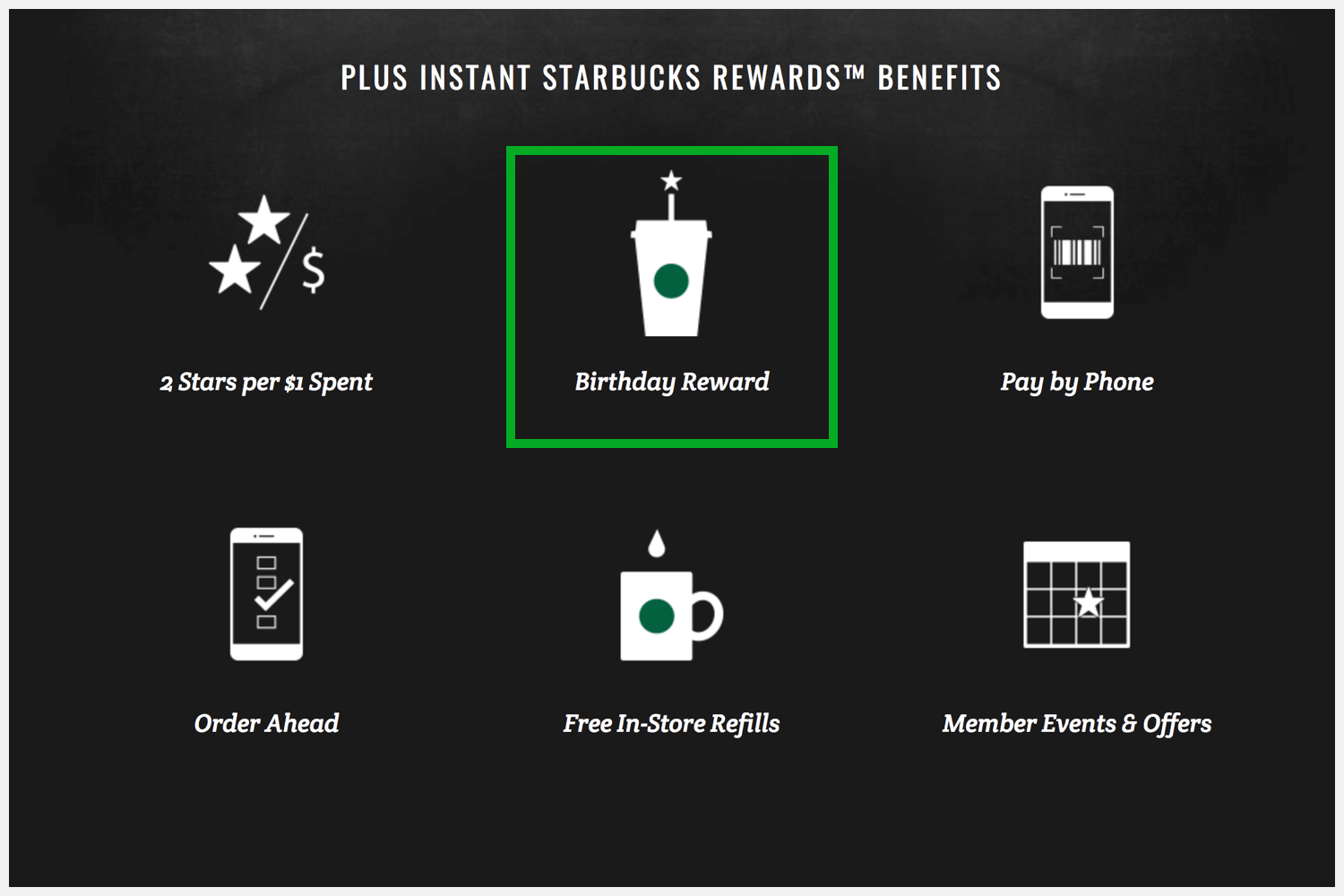 Starbucks Rewards' webpage with a red square around the free drink on your birthday.