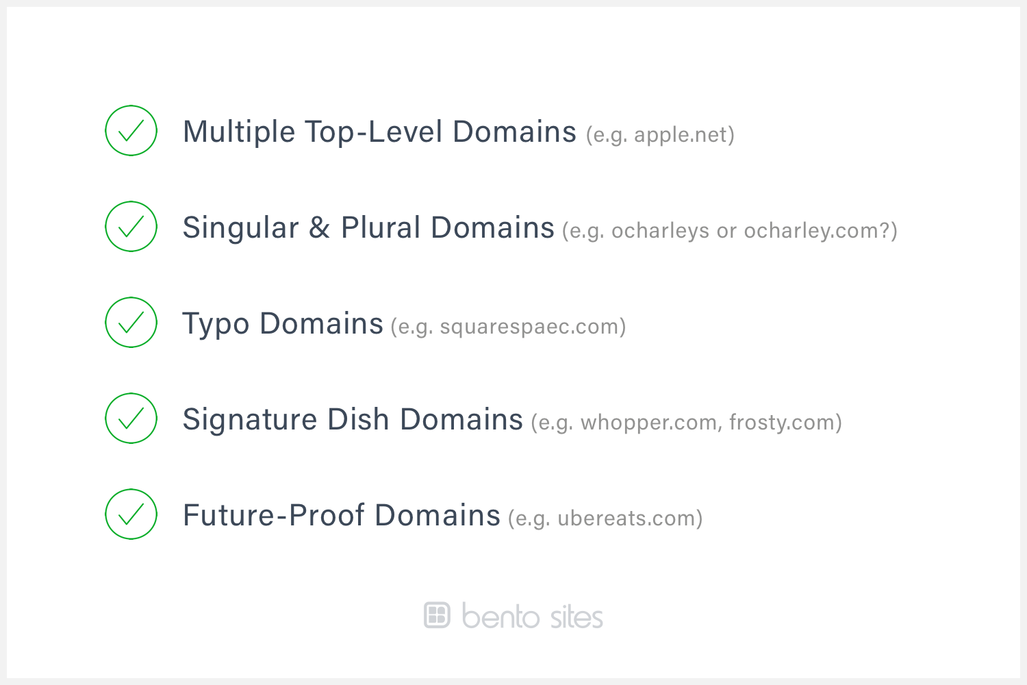 A checklist that describes the kinds of domains to register.