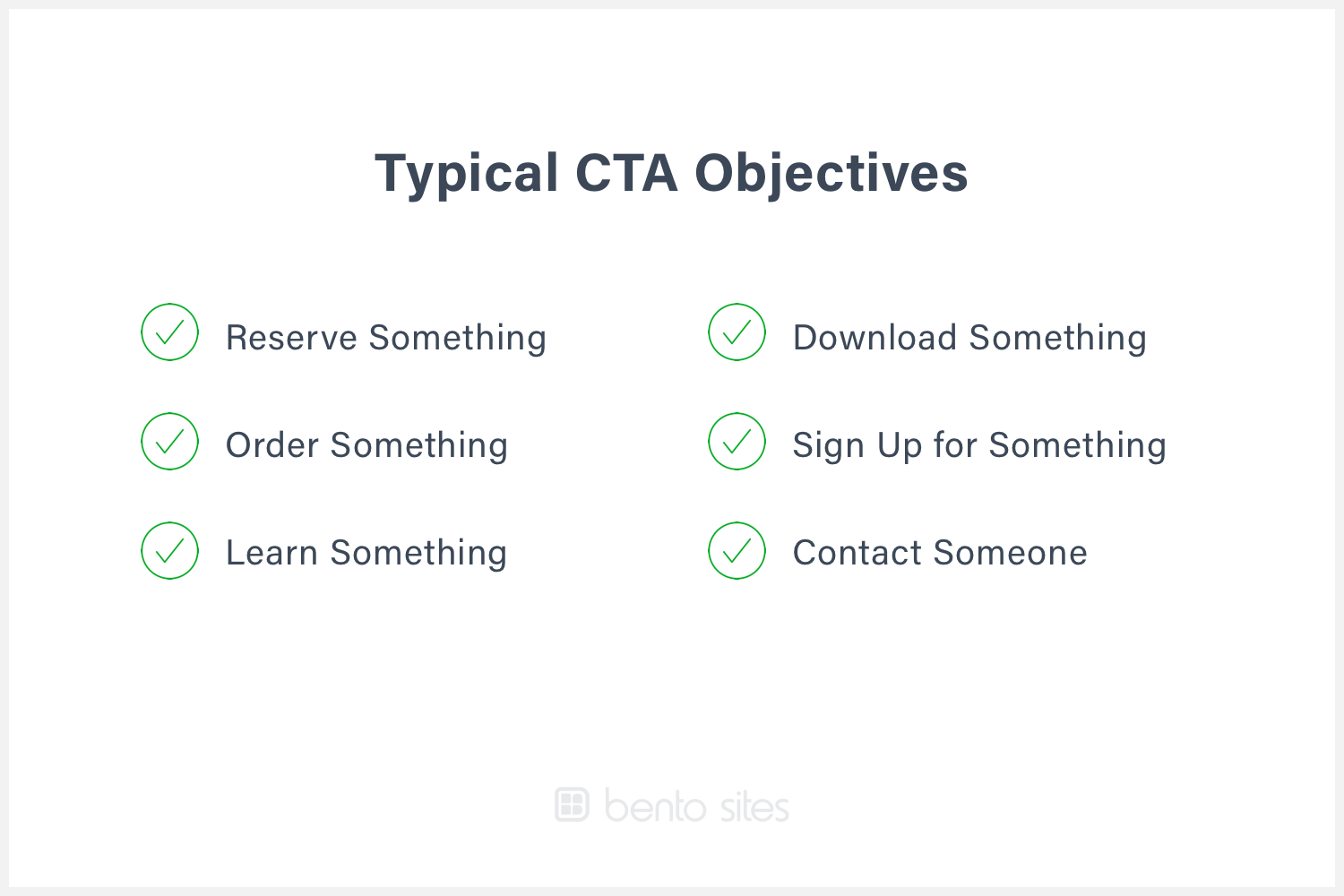 List of typical call to action objectives.
