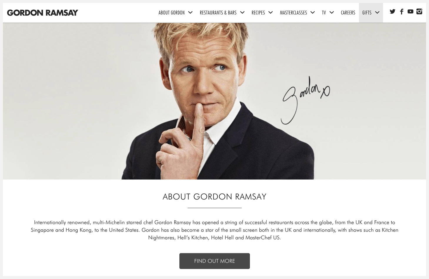 Header of Gordon Ramsay's website.